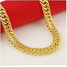 CS-DB Gold 24K Real Gold Plated Curb Sideways Chain Men Women Necklace 8MM 21.2inch