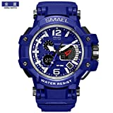 SMAEL Mens Multifunctional LED Dual Display Waterproof Sports Wrist Watch (Blue)