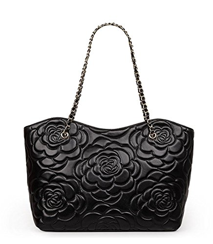 uine leather Quilted Totes With Chain Strap Purse Handbag (Black) (Quilted Leather Tote Bag)