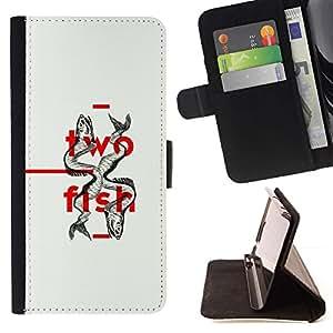 Momo Phone Case / Flip Funda de Cuero Case Cover - Two Fish Minimalista Diseño Profundo - Samsung Galaxy S4 IV I9500