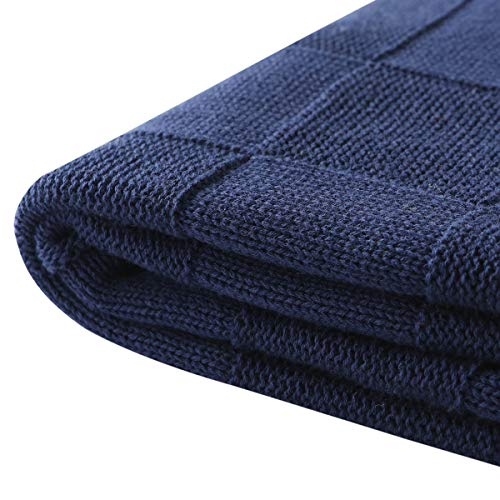 Vonty Cable Knit Blanket Soft Knitted Throw Couch Cover Blanket, Warm & Cozy for Couch Sofa Bed Beach Travel Use - Navy Blue, 47