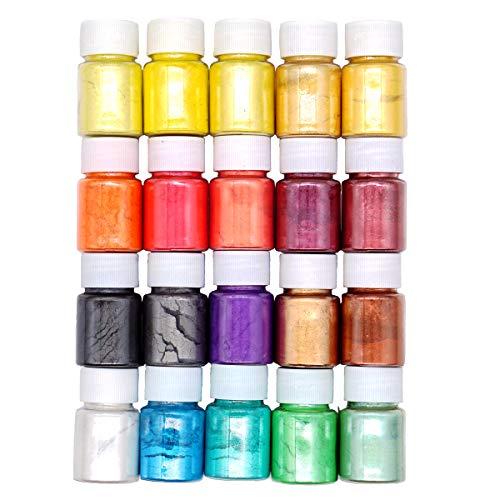 - 20 Colors Epoxy Resin Pigment Mica Powder Pearl Pigments Slime Dye Powder Soap Dye (0.35oz Each)- Soap Making Colorants Set Colorants for Slime Coloring, Bath Bomb