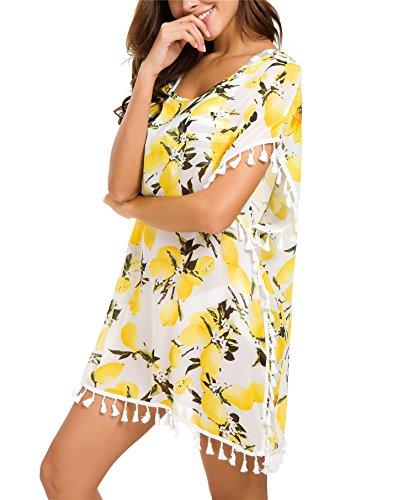 sh Chiffon Tassel Beachwear Bikini Swimsuit Cover up (H-Lomen, One Size) (Dress Bikini Cover Up)