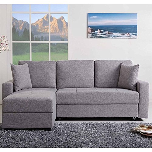 Gold Sparrow Aspen Convertible Sectional Storage Sofa Bed, Ash