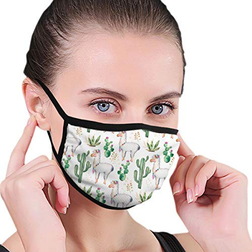 WOWRIGHT Mouth Mask for Men Women, Washeable Reusable Anti Dust Face Mask with Soft Ear Loops, Animal Llamas Cactus Pattern