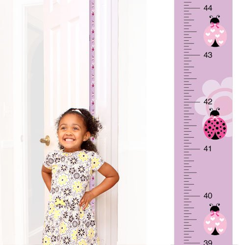 Award-winning Mom Approved PeekaBoo Growth Charts [Ladybug] Track & Measure your Kid's Height. Fits in Door Jamb, Removable, Self-Adhesive [72 x 1.25 Inches] Mom's Choice Award Winner ()