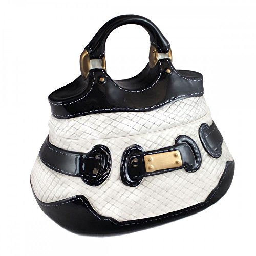Neiman Marcus Handbag Cookie Container - Ceramic Cookie Jar with Gold Buckle - Black and White