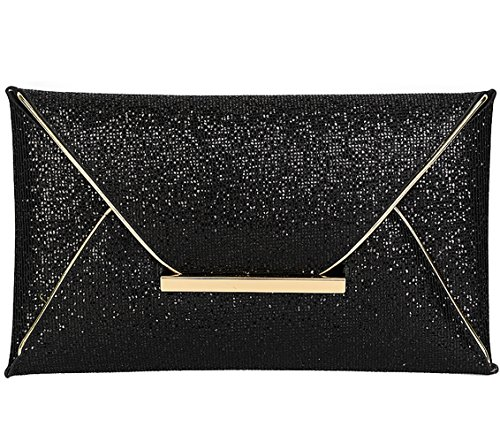 Sequins Clutch Evening Party Bag (Black) - 3