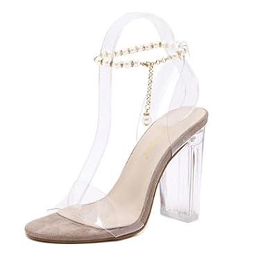 Amazon.com: Sandalias Bling de 3.1 in de alto tacón, perlas ...