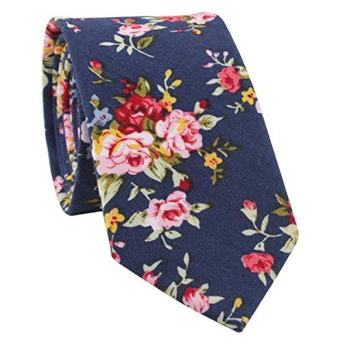 Men's Cotton Navy Blue Skinny Novelty Tie Slim Narrow Peony Printed Tie Necktie For Wedding Party