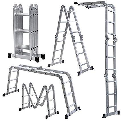 Champion Ladders Aluminium Multipurpose 4 x 3 Combination Ladder without Scaffolding Platform and Shelf , 370 cm, 12.15 ft