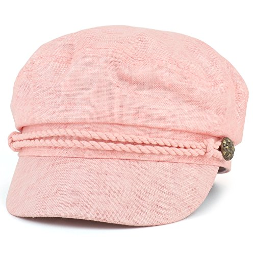 Trendy Apparel Shop Linen Cotton Newsboy Fisherman Rope Band Fiddler Cap - Coral by Trendy Apparel Shop (Image #3)