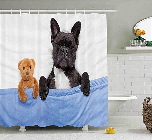 Animal Decor Shower Curtain French Bulldog Sleeping with Teddy Bear in Cozy Bed Best Friends Fun Dreams Image Fabric Bathroom Decor Set with Hooks