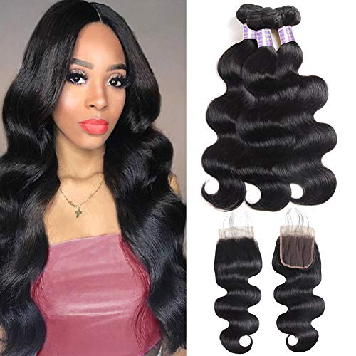 Allove Hair Malaysian Body Wave 3 Bundles with Closure (18 20 22+16) 8A 100% Unprocessed Virgin Hair Extensions Weaves Human Hair Bundles with 4X4 Lace Closure Free Part with Baby Hair Natural Black