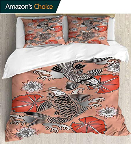 carmaxs-home 3 Piece Quilt Coverlet Bedspread,Box Stitched,Soft,Breathable,Hypoallergenic,Fade Resistant Bedding Set for Kids,Boys and Teens-Koi Fish Traditional Japanese Lily (87