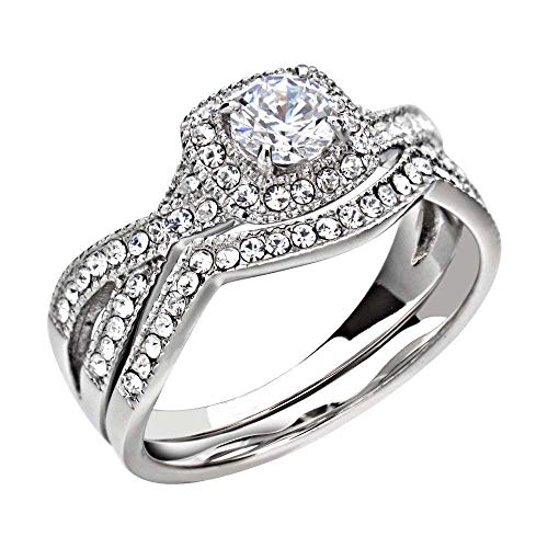 FlameReflection Stainless Steel Womens Rings Halo Round cz Infinity Wedding Ring Set Size 5 SPJ