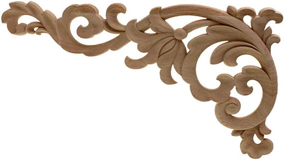 Timesens Vintage Unpainted Wood Carved Decal Corner Applique Frame for Home Furniture Wall Cabinet Door Decorative Wooden Miniature Craft 22X12cm
