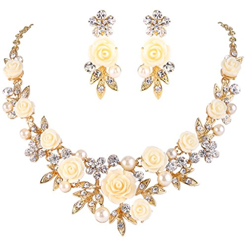 EVER FAITH Women's Crystal Simulated Pearl Rose Flower Leaf Necklace Pierced Earrings Set Clear Gold-Tone