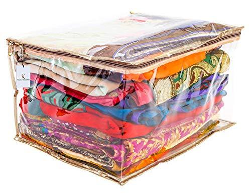 Kuber Industries PVC Saree Bag, Gold