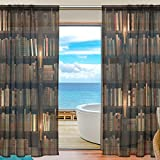 SEULIFE Window Sheer Curtain, Bookshelf Room Library Voile Curtain Drapes for Door Kitchen Living Room Bedroom 55×78 inches 2 Panels Review