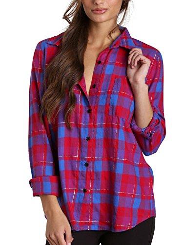 Splendid Women's Juniper Flannel Shirt, Vermillion, Medium
