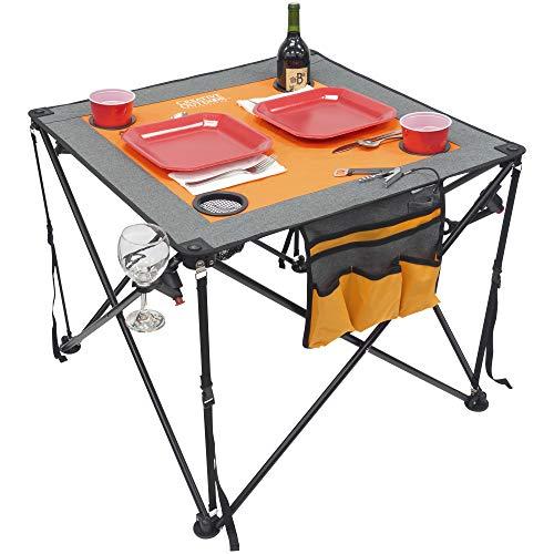 Creative Outdoor Folding Wine Table | Portable | Camping Beach Picnic & Patio | Orange/Gray