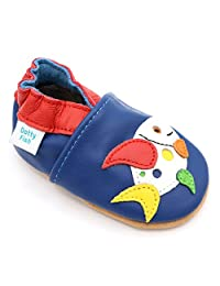 Dotty Fish Baby and Toddler Soft Leather Shoe with Suede Soles - Multicoloured Fish for Boys & Girls - 0-6 Months to 4-5 Years