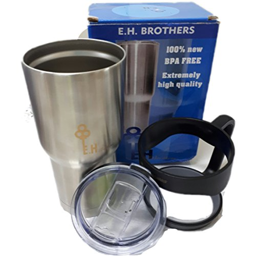 Tumbler Rambler 30 oz , Stainless Steel, Double Walled Vacuum Insulation for Hot and Cold Drinks, removable handle - by E.H brothers