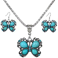 Ikevan Fashion Retro Turquoise Pendant Chain Bib Necklace Earrings Jewelry Set for Women Girls (1pc Necklace&1 Pair Earrings)