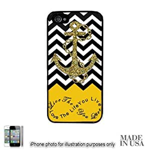 Anchor Live the Life You Love Infinity Quote (Not Actual Glitter) - Yellow Black White Chevron with Anchor iPhone 4 4S Hard Case - BLACK by Unique Design Gifts