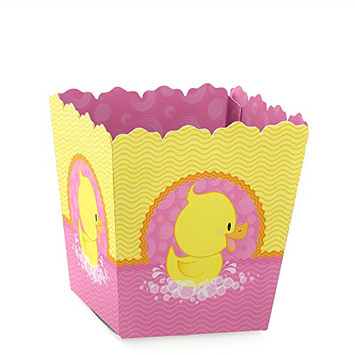 Pink Ducky Duck - Party Mini Favor Boxes - Girl Baby Shower or Birthday Party Treat Candy Boxes - Set of 12