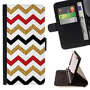 Jordan Colourful Shop - Moroccan pattern golden red black white For Apple Iphone 5 / 5S - Leather Case Absorci???¡¯???€????€???????&b