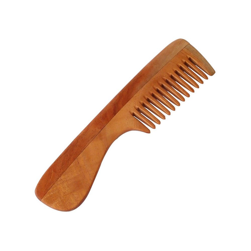 "HealthAndYoga® Handcrafted Neem Wood Comb - Anti Dandruff, Non-Static and Eco-friendly- Great for Scalp and Hair health -7"" Wide toothed with Handle"