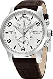 Montblanc Timewalker Twinfly Chronograph White Dial Brown Leather Mens Watch 109134