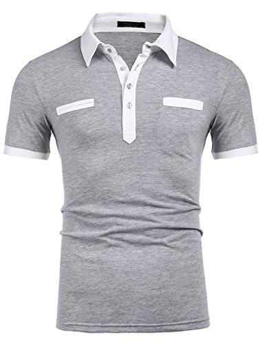 Modfine Men's Short Sleeve Polo Classic Casual Colorblock Lapel Pocket Cotton Polo Shirt(Grey,M) (Colorblock Golf)