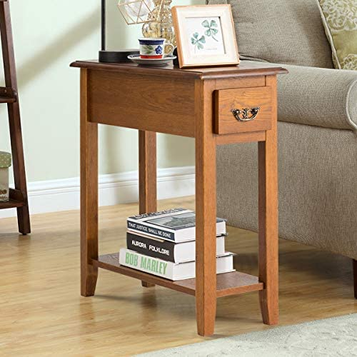 Tangkula Sofa Side End Table, 2 Tier Narrow Nightstand w Drawer and Open Shelf, Narrow Bedside Table Slim End Table for Living Room Bedroom 2, Walnut