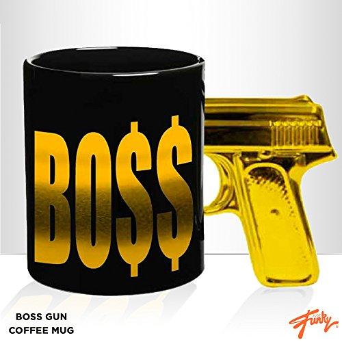 JUST FUNKY JF-Cmg-3784-Jfc-01 Boss Gun Mug with Gold Color Foil Print