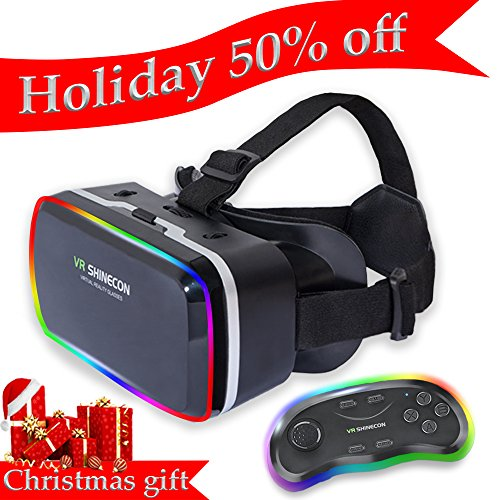 3D VR Headset Glasses, Virtual Reality Viewer Helmet Goggles, Private Theater for Movie & Games. Adjustable Pupil, Object Distance for Apple iPhone More Smartphones