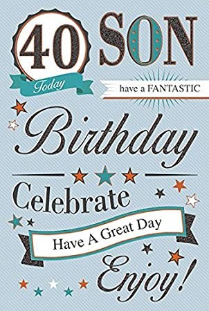 Son 40th birthday card amazon kitchen home son 40th birthday card bookmarktalkfo Choice Image