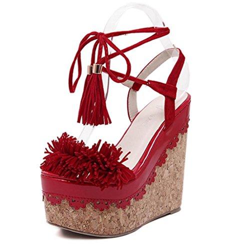 Sandals Fashion Platform Lh red Quality High Flowers Sandals High Banquet Party Straps 35 Muffled Platform Ladies Waterproof Wedding Tassel yu Waterproof Women Heels EE7rqOpS