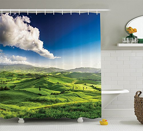 [Room Decorations Collection Valley at Sunset Tuscany Farmhouse Getaway Villa Meadow Cultivated Land Picture Polyester Fabric Bathroom Shower Curtain Set with Hooks Green Blue] (The Pope Costume At The White House)