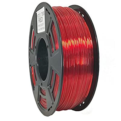 Stronghero3D 3D Printing PETG Filaments 1.75mm Net Weight 1KG Accuracy +/-0.05mm (Translucent Red)