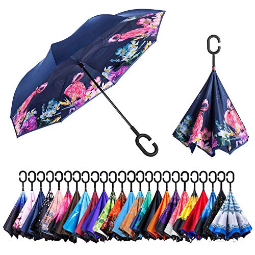 Newsight Reverse/Inverted Double-Layer Waterproof Straight Umbrella, Self-Standing & C-Shape Handle & Carrying Bag for Free Hands, Inside-Out Folding for Car Use (Flamingos)