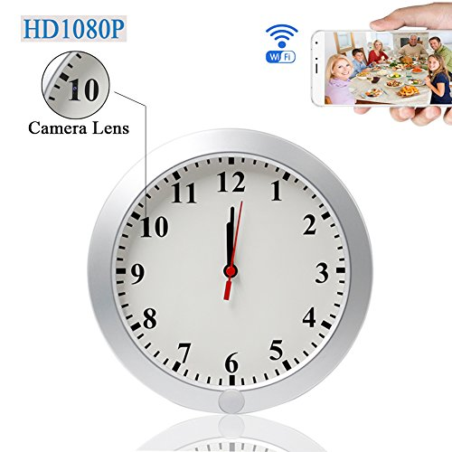 UYIKOO Upgraded 1080P WiFi Wall Clock Camera IP DVR Security Cam Surveillance Cameras P2P Real-time Video Remote View on Your Phone With Motion Detection
