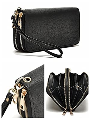 Hoxis Multi-purpose Generous Faux Leather Purse Organizer Double Zip Around Large Wallet with Wristlet
