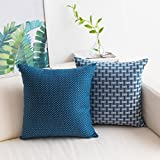 Decorative Pillow Cover - HOME BRILLIANT Set of 2 Linen Cushion Cover Dots and Checkers Woven Textured Nautical Lined Square Decorative Toss Throw Pillow Covers Pillowcases for Chair/Bed Linen, 18inch (45cm), White/Navy Blue
