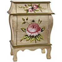 Nearly Natural 7012 Antique Night Stand with Floral Art, Beige/Pink/Gold