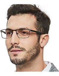 c4556c7b861 Mens Rectangle Eyewear Full-Rim Metal Non-Prescription Clear Optical Glasses