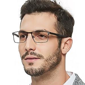 OCCI CHIARI Blue Light Filter Computer Glasses for Mens Rectangle Eyewear Prescription Clear Optical Eyeglasses Frame
