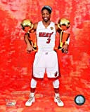 Dwyane Wade Miami Heat NBA Championship Trophies 8x10 Photo